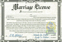 Fake Marriage Certificate | Marriage License | Marriage for Blank Marriage Certificate Template