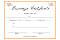 Fake Marriage Certificate Template with Blank Marriage Certificate Template