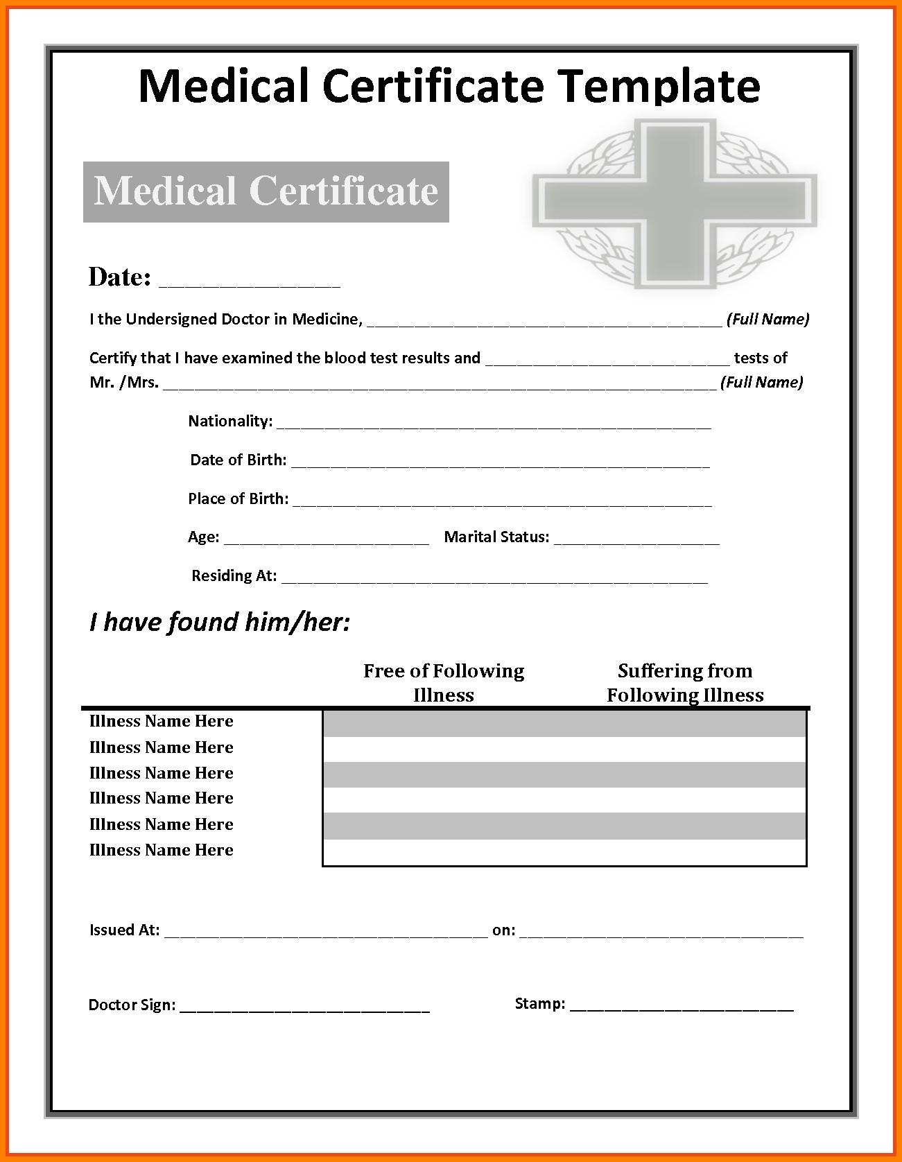 Fake Medical Certificate Template Download In Fake Medical Certificate Template Download