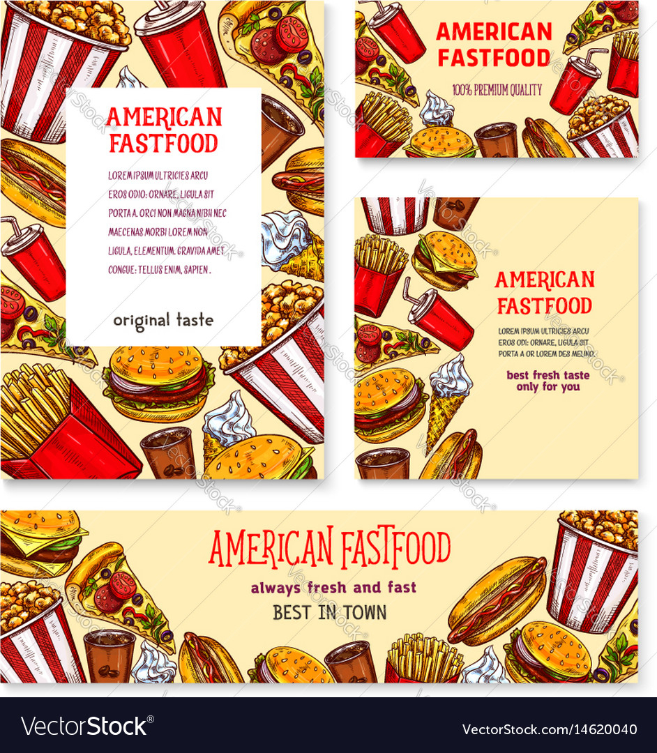 Fast Food American Restaurant Banner Template Set Pertaining To Food Banner Template