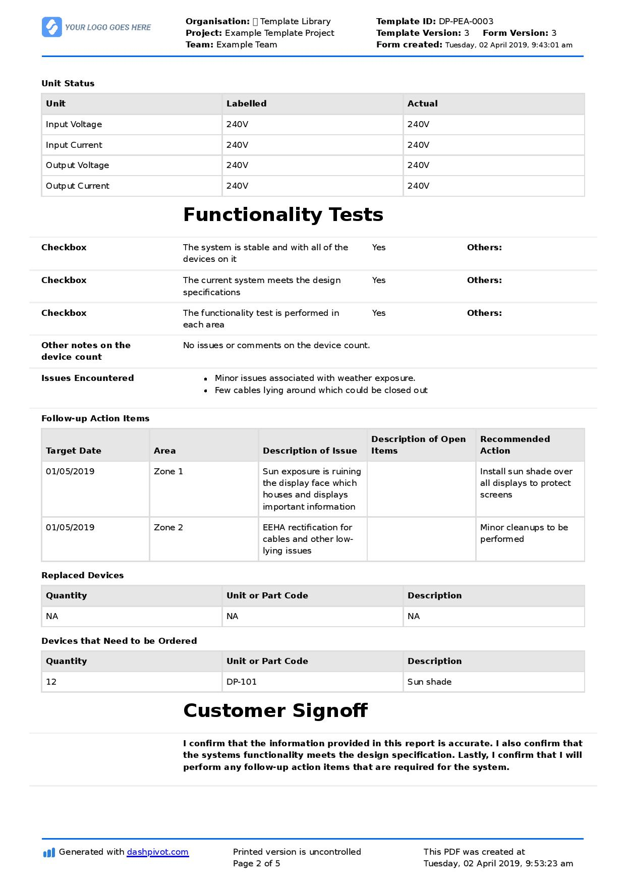 Field Service Report Template (Better Format Than Word In Field Report Template