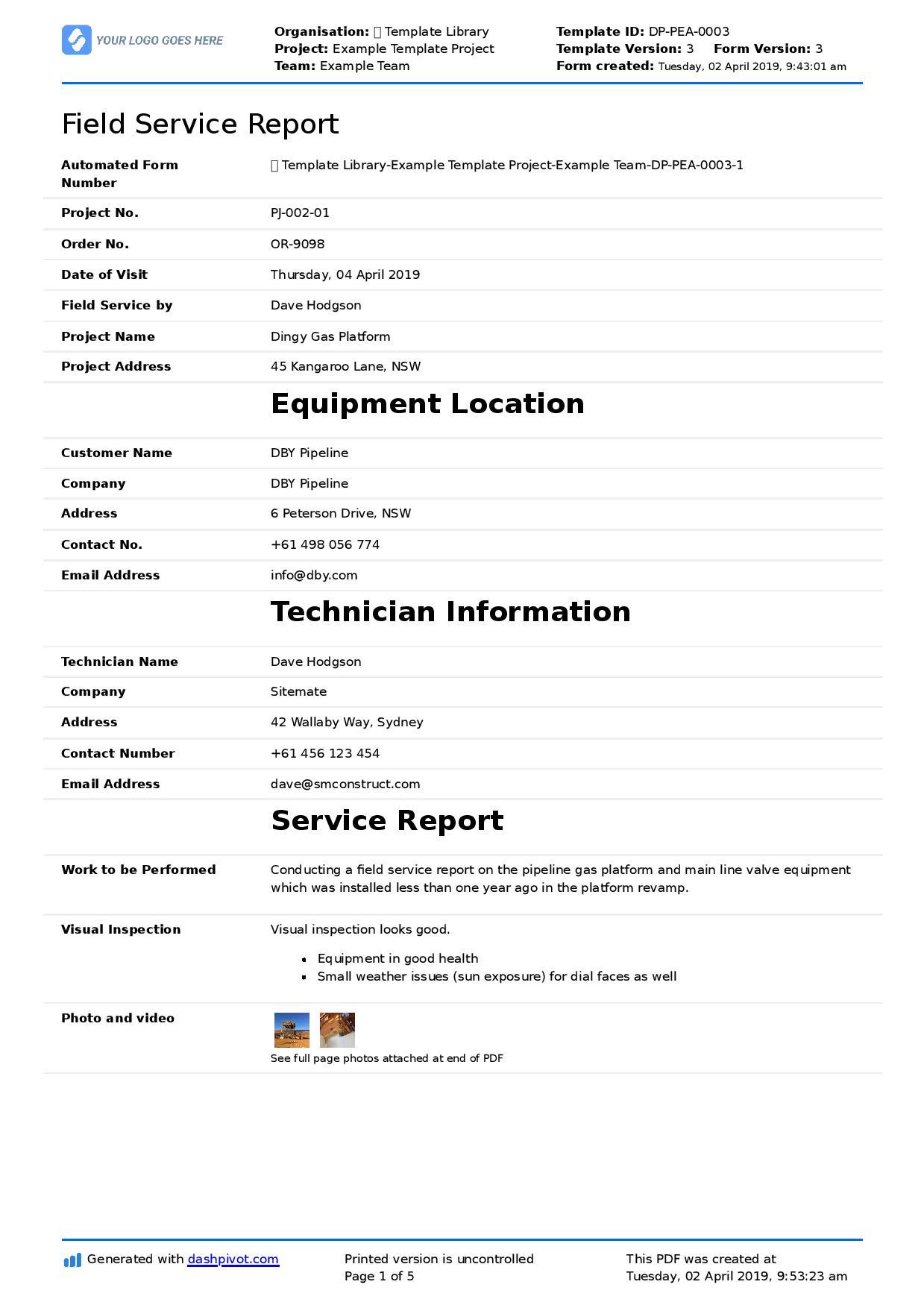 Field Service Report Template (Better Format Than Word In Technical Service Report Template