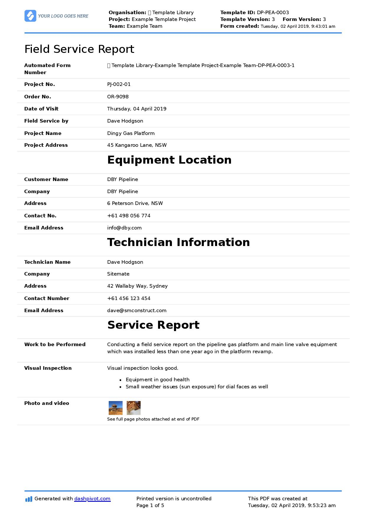 Field Service Report Template (Better Format Than Word Intended For Field Report Template