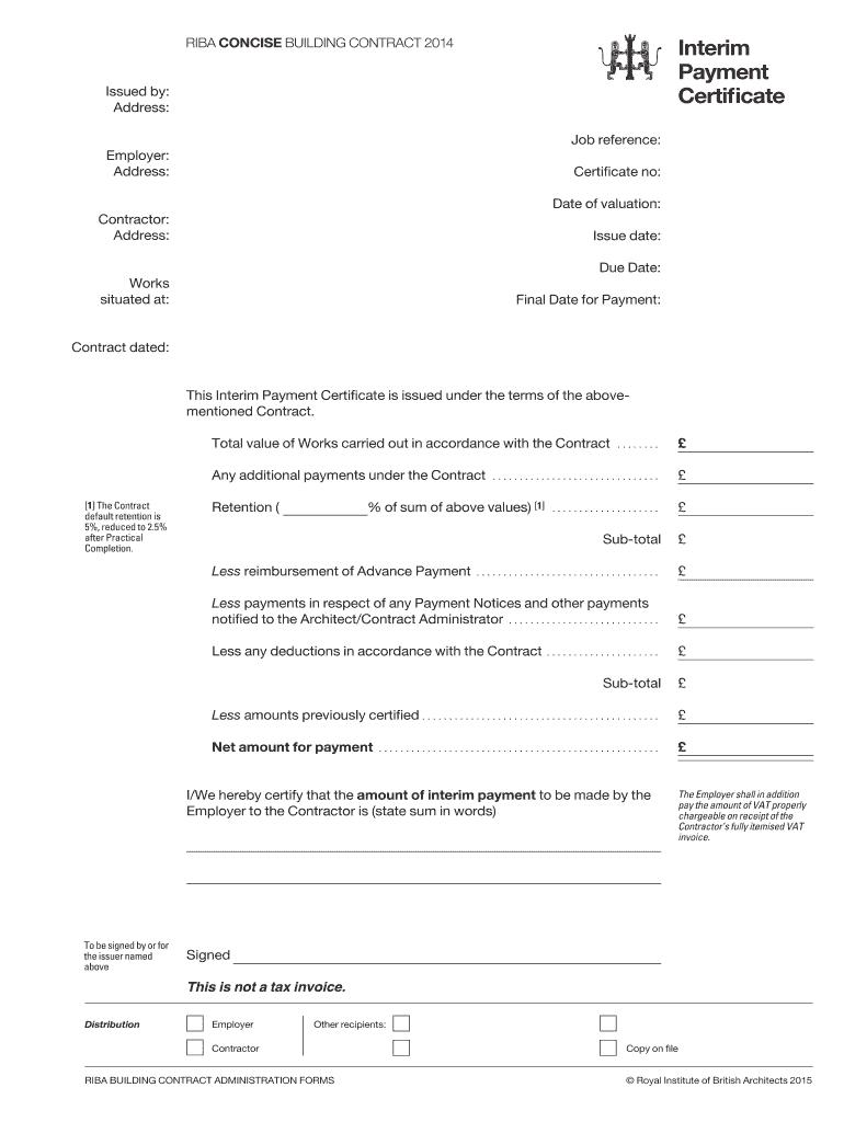 Fillable Online Interim Payment Certificate (.pdf) - Riba Regarding Construction Payment Certificate Template