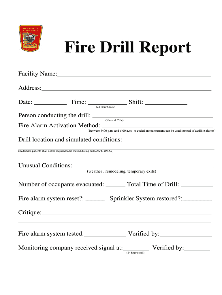 Fire Drill Report Template - Fill Online, Printable With Regard To Fire Evacuation Drill Report Template