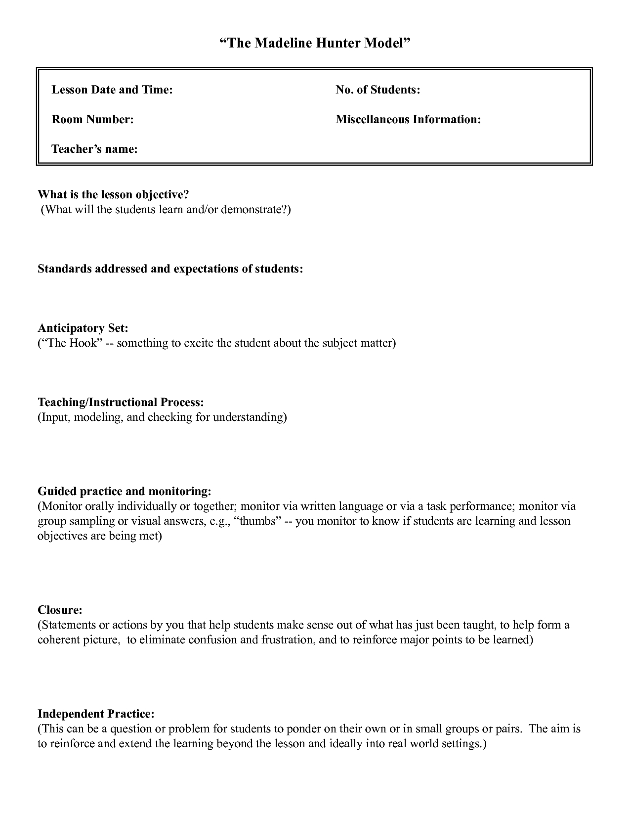 Five Common Mistakes In Writing Lesson. | Lesson Plan Intended For Madeline Hunter Lesson Plan Template Blank