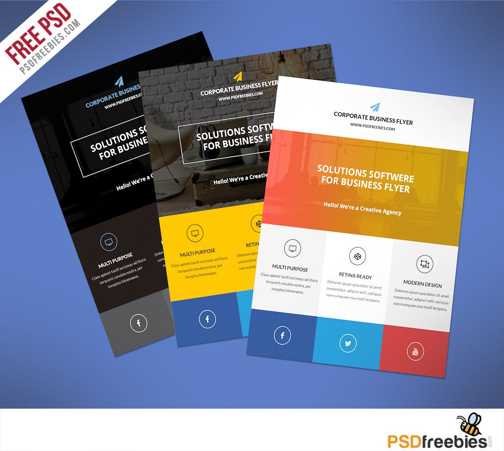 Flat Clean Corporate Business Flyer Free Psd | Psd Print Pertaining To Commercial Cleaning Brochure Templates