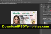 Florida Driver License Psd [Fl New Updated Template] for Florida Id Card Template