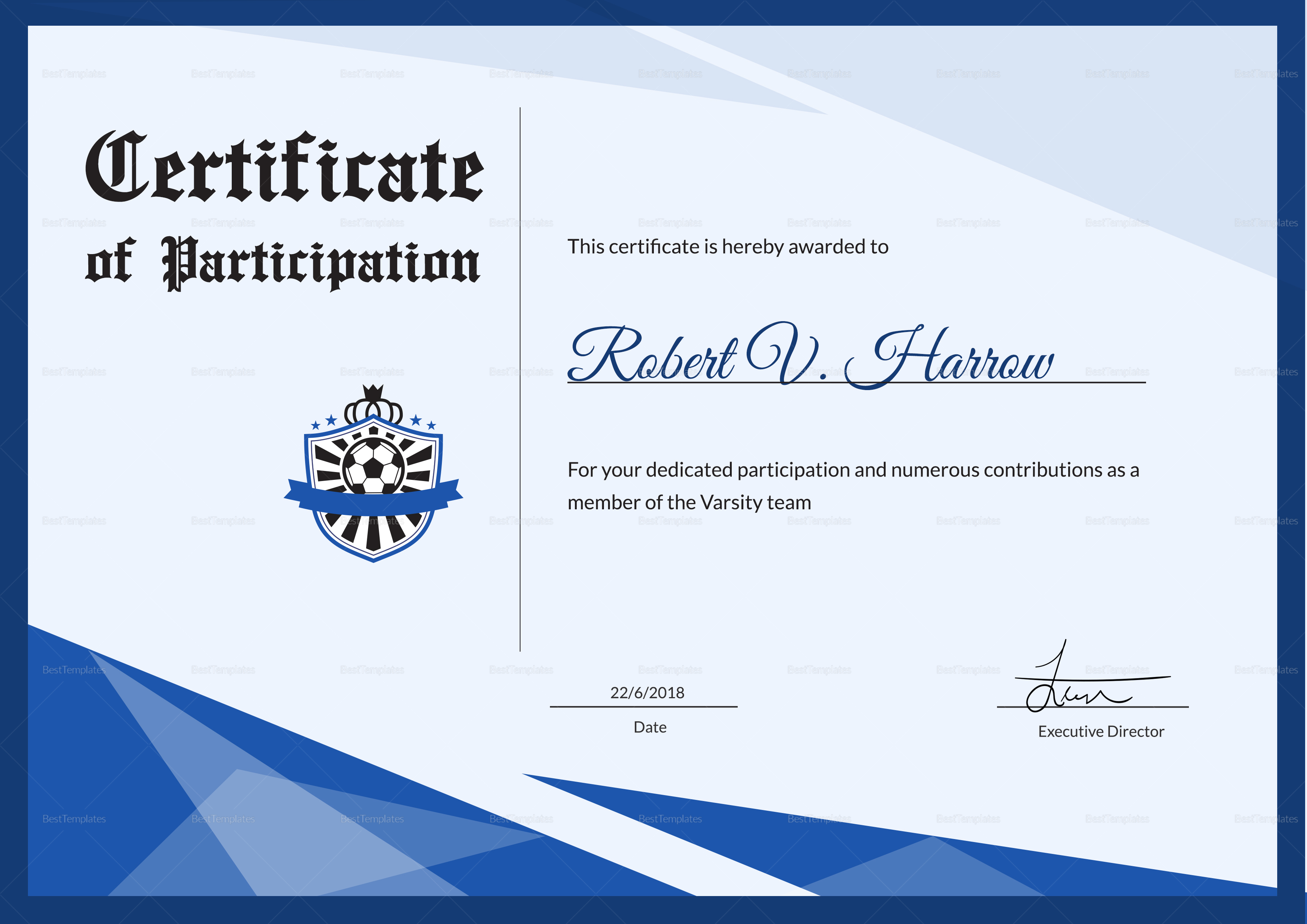 Football Award Certificate Template Intended For Football Certificate Template