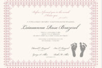 Footprints Baby Certificates   Birth Certificate Template pertaining to Baby Doll Birth Certificate Template