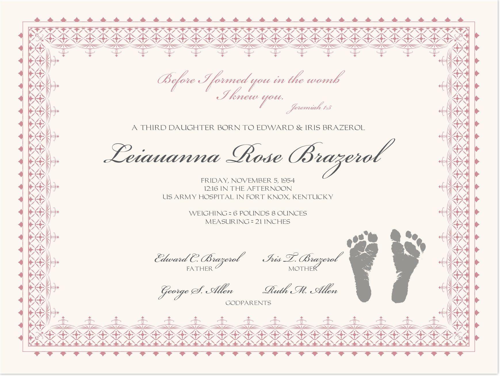 Footprints Baby Certificates | Birth Certificate Template Regarding Baby Dedication Certificate Template