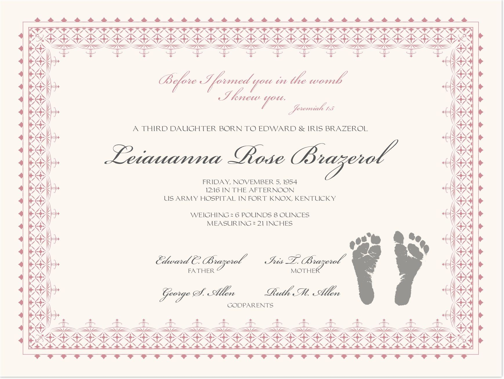 Footprints Baby Certificates | Birth Certificate Template Throughout Baby Christening Certificate Template
