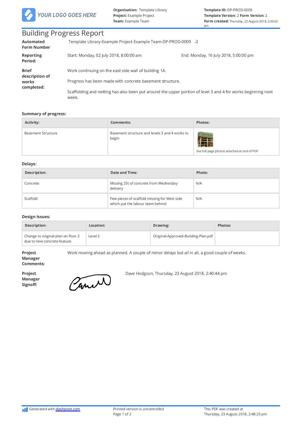Free Building Construction Progress Report Sample (Customisable) For Site Progress Report Template