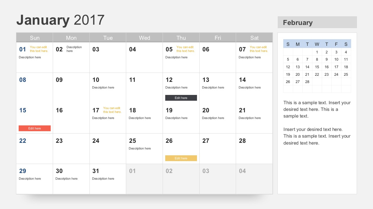 Free Calendar 2017 Template For Powerpoint In Microsoft Powerpoint Calendar Template