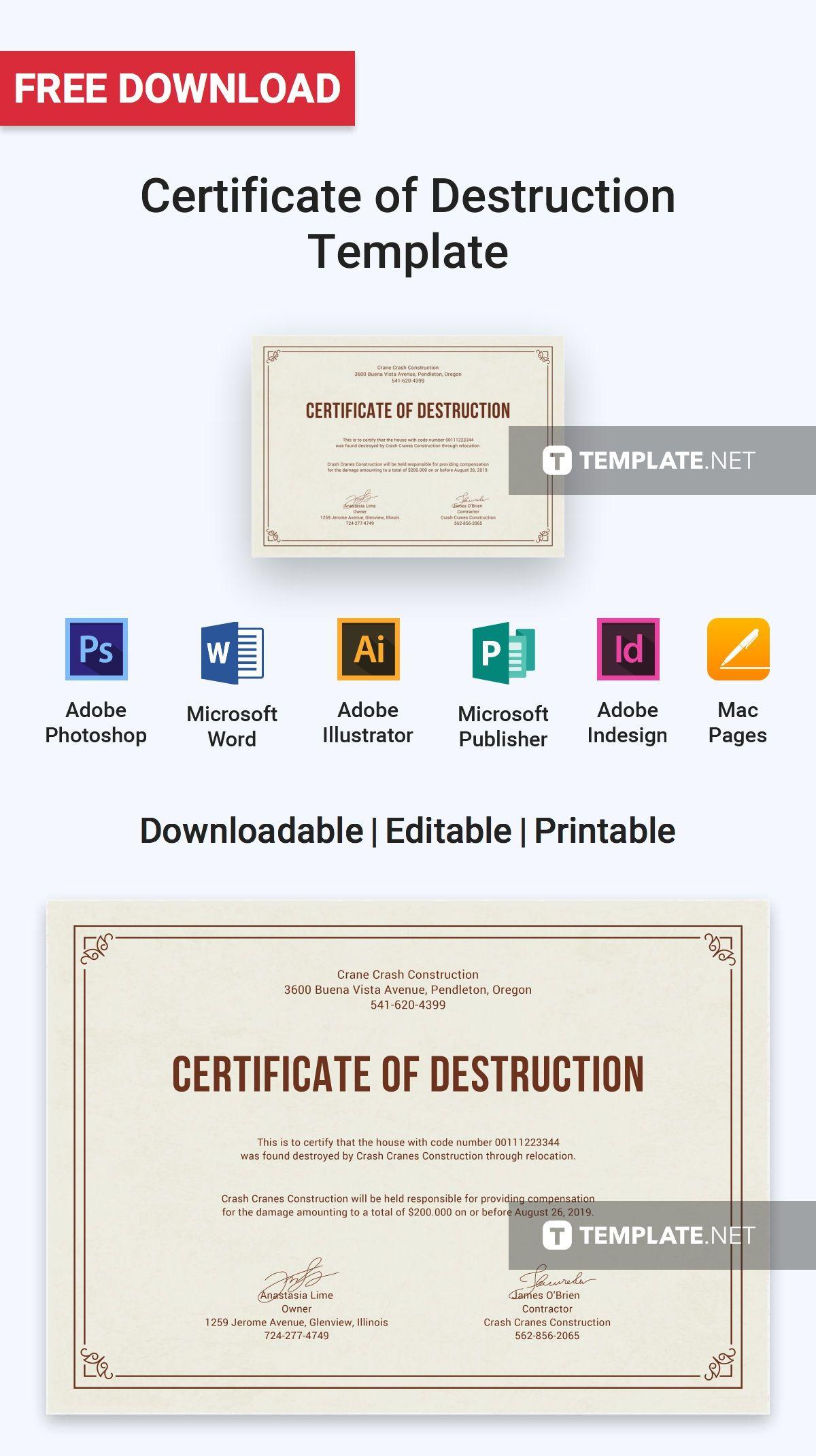 Free Certificate Of Destruction | Certificate Templates With Regard To Free Certificate Of Destruction Template