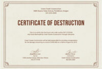Free Certificate Of Destruction | Free Certificate Templates regarding Free Certificate Of Destruction Template