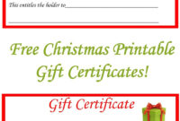 Free Christmas Printable Gift Certificates | Gift Ideas For Dinner Certificate Template Free
