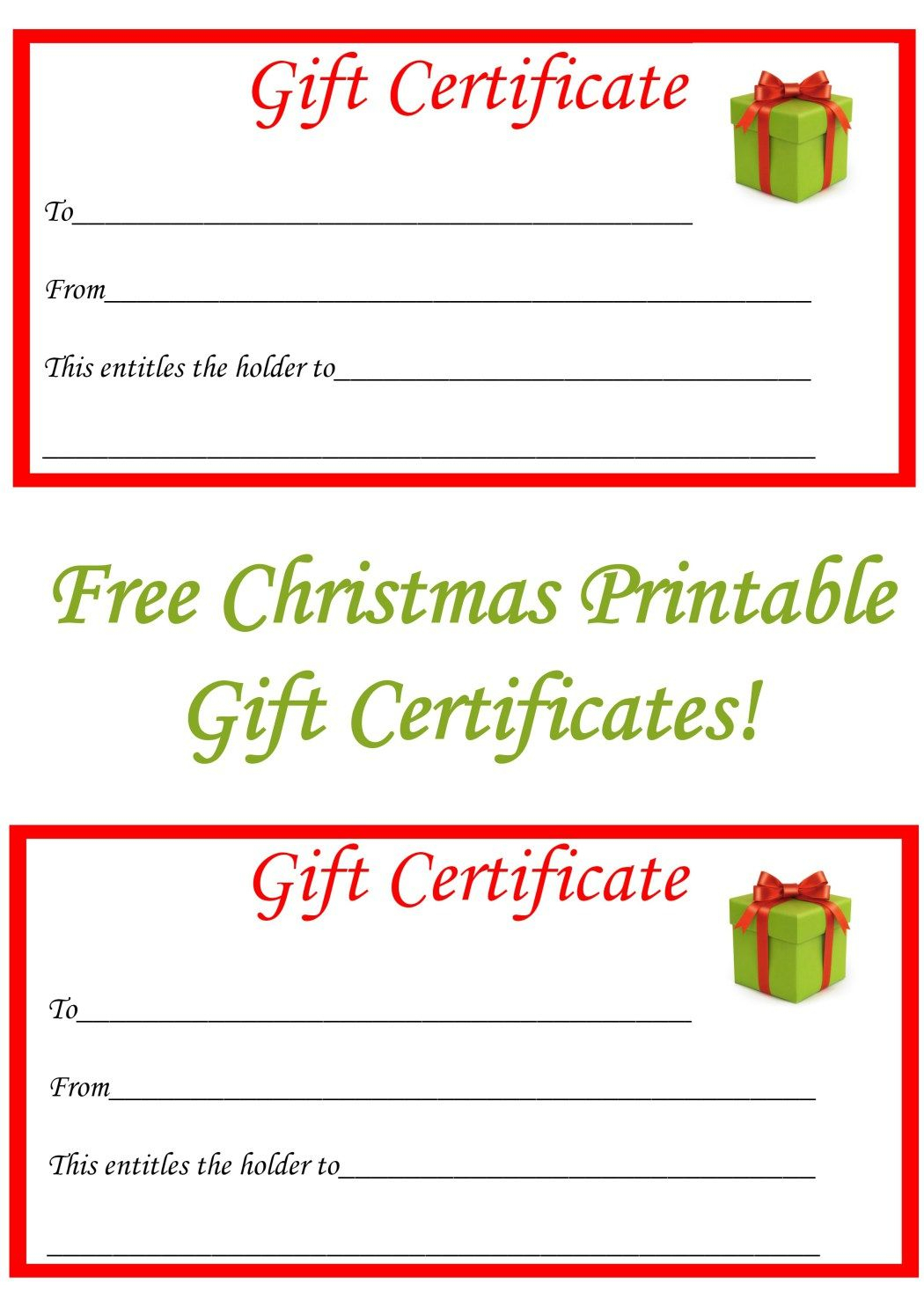 Free Christmas Printable Gift Certificates   Gift Ideas With Regard To Printable Gift Certificates Templates Free