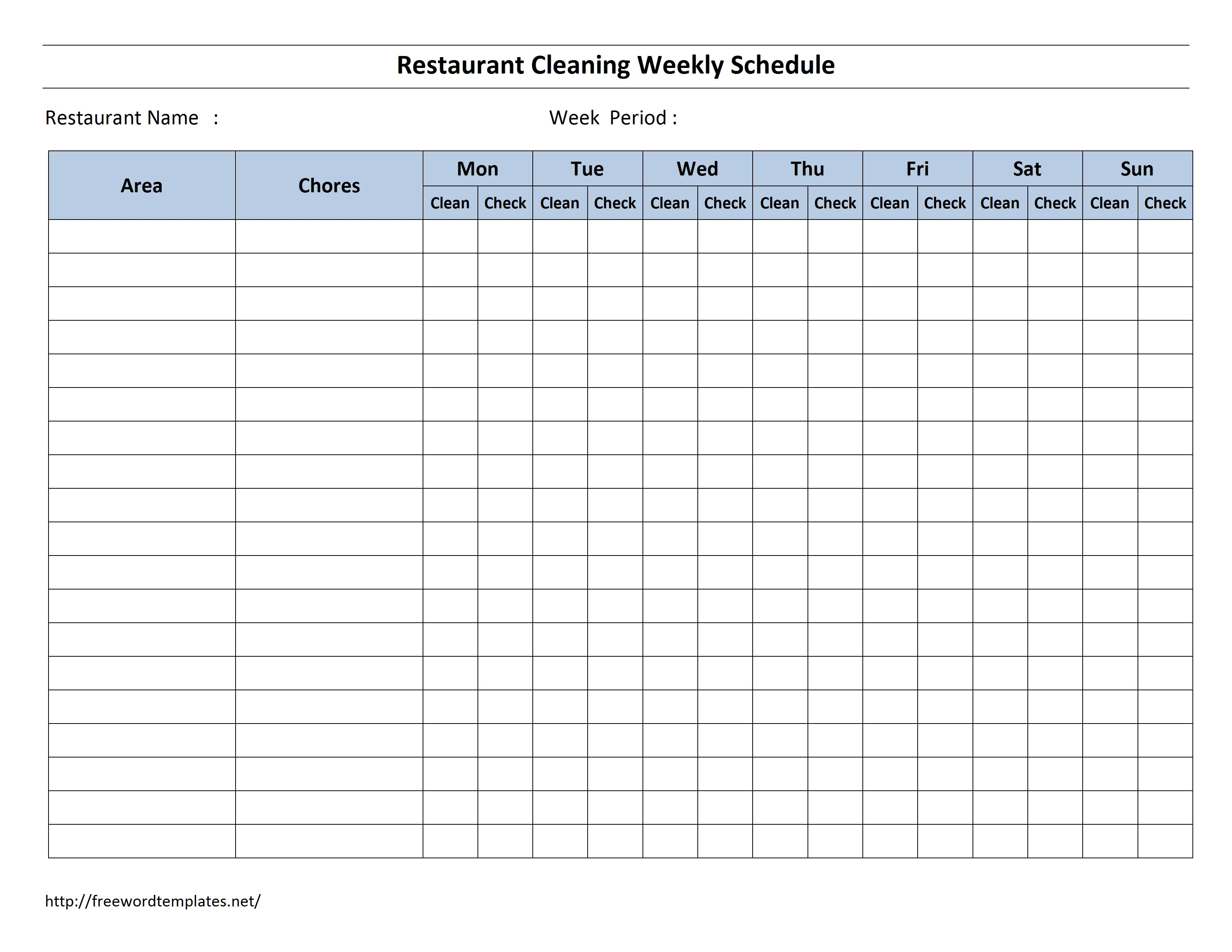 Free Cleaning Schedule Forms   Excel Format And Payroll Within Cleaning Report Template