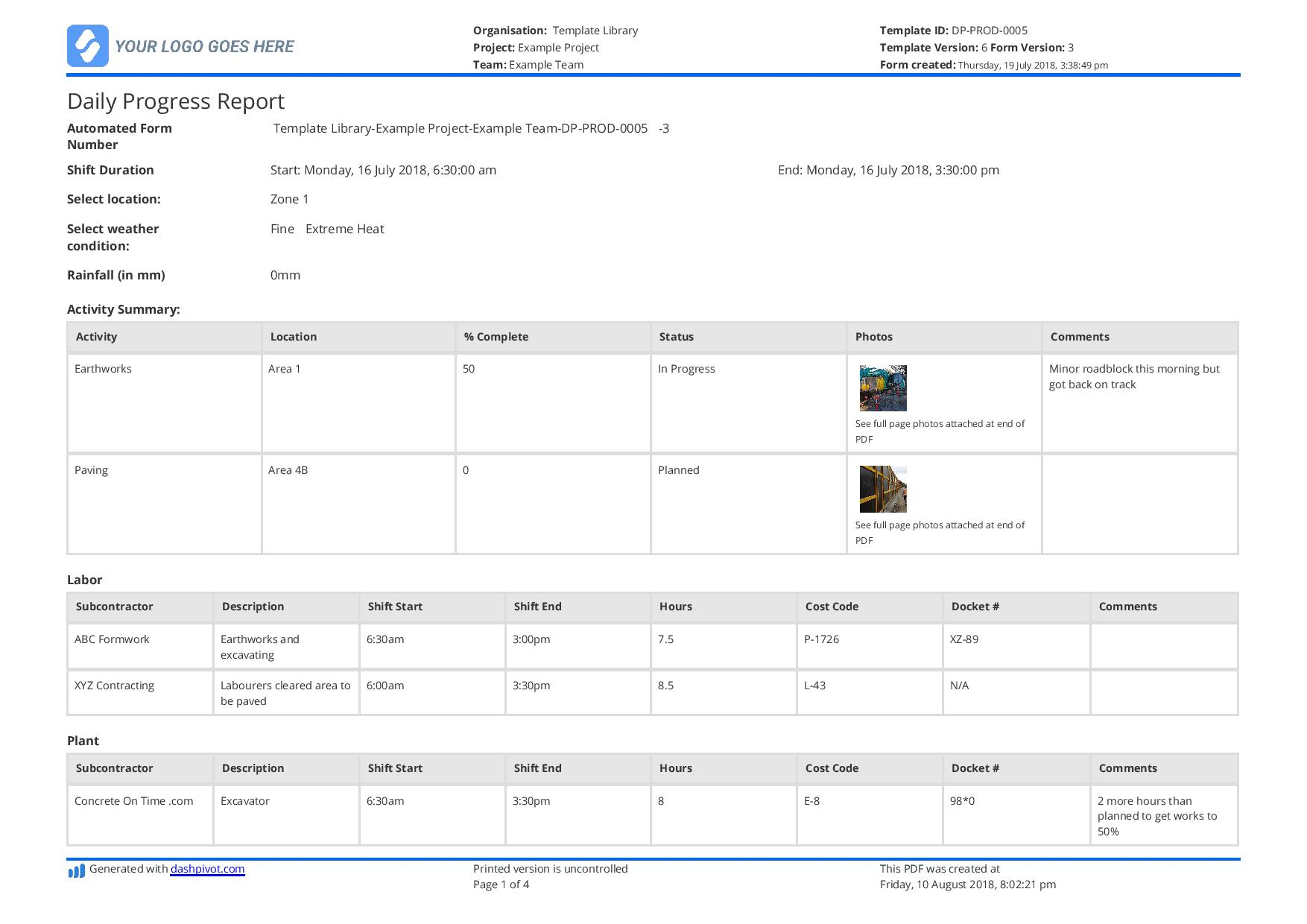 Free Construction Daily Report Template (Better Than Pdf Regarding Monthly Productivity Report Template