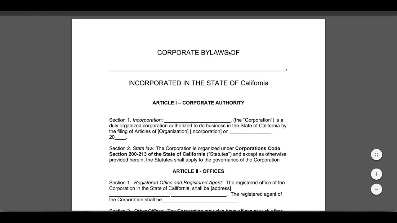 Free Corporate Bylaws Template | Pdf | Word In Corporate Bylaws Template Word