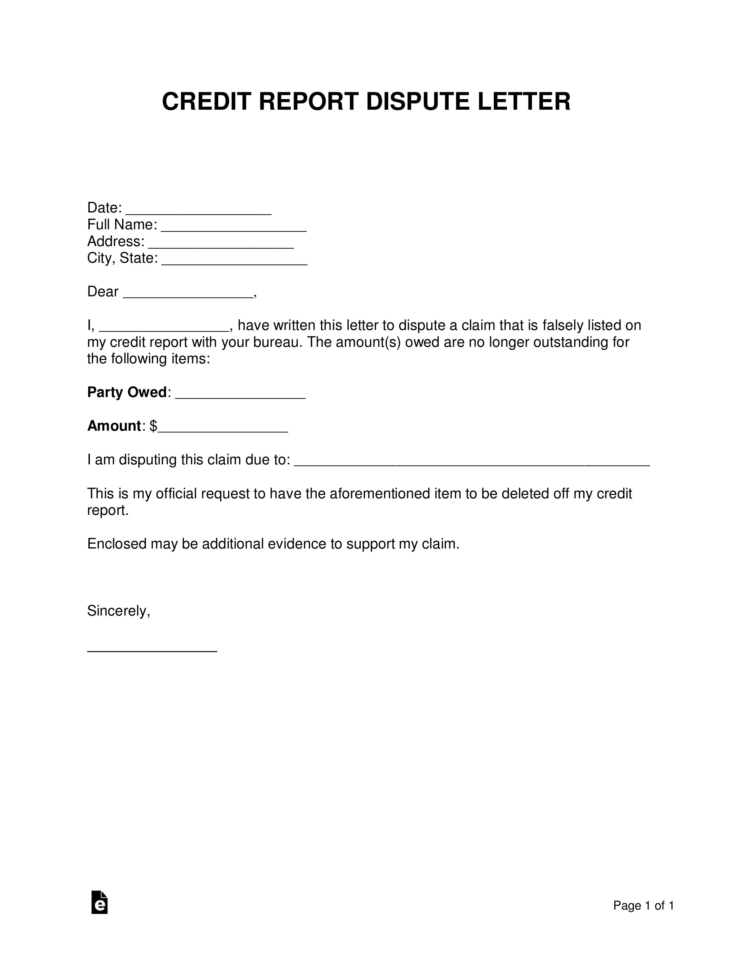 Free Credit Report Dispute Letter Template - Sample - Word Within Credit Report Dispute Letter Template