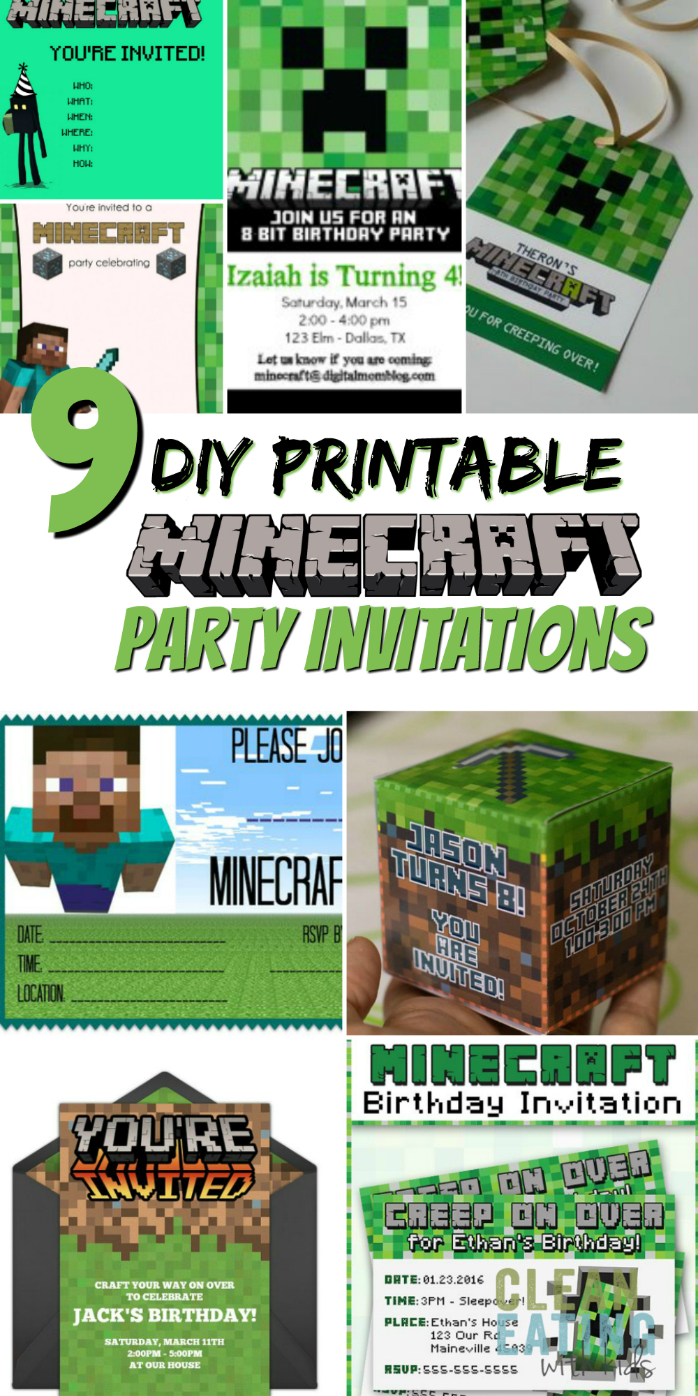 Free Diy Printable Minecraft Birthday Invitation - Clean Intended For Minecraft Birthday Card Template