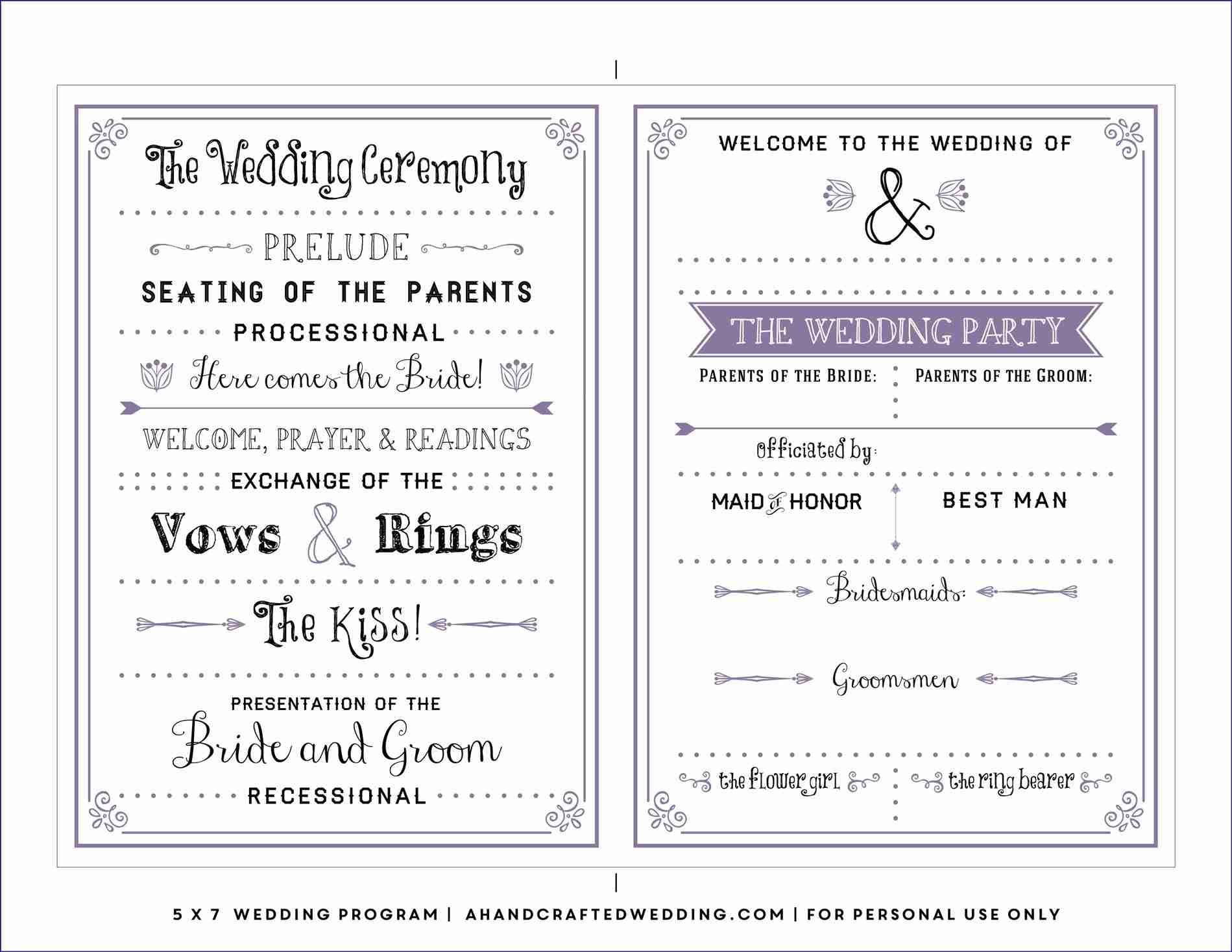 Free Downloadable Wedding Program Template That Can Be Throughout Free Printable Wedding Program Templates Word