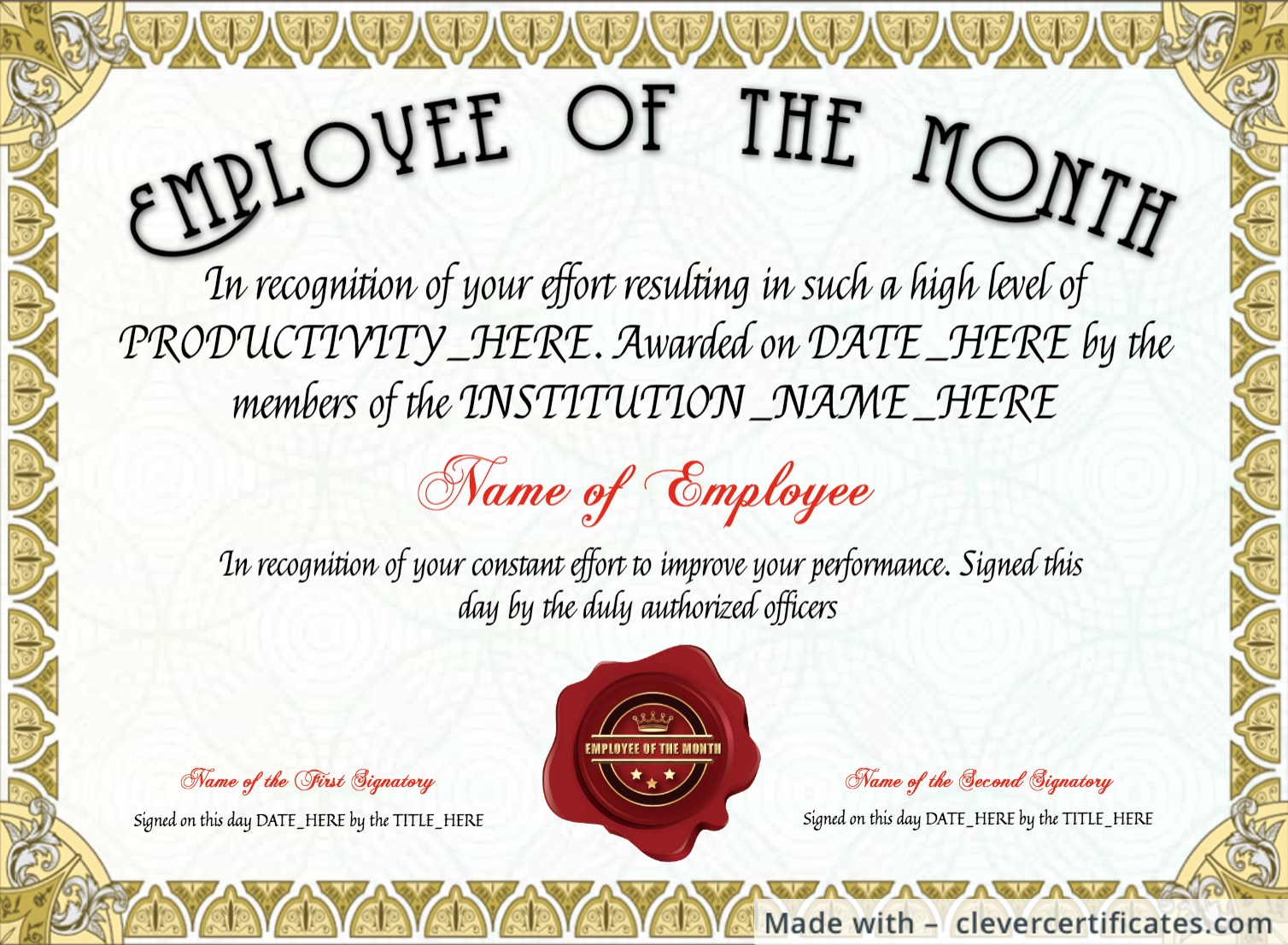 Free Employee Of The Month Certificate Template At In Employee Of The Month Certificate Template With Picture