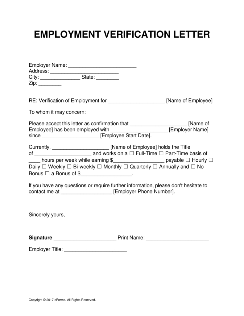 Free Employment (Income) Verification Letter Template - Pdf Intended For Employment Verification Letter Template Word