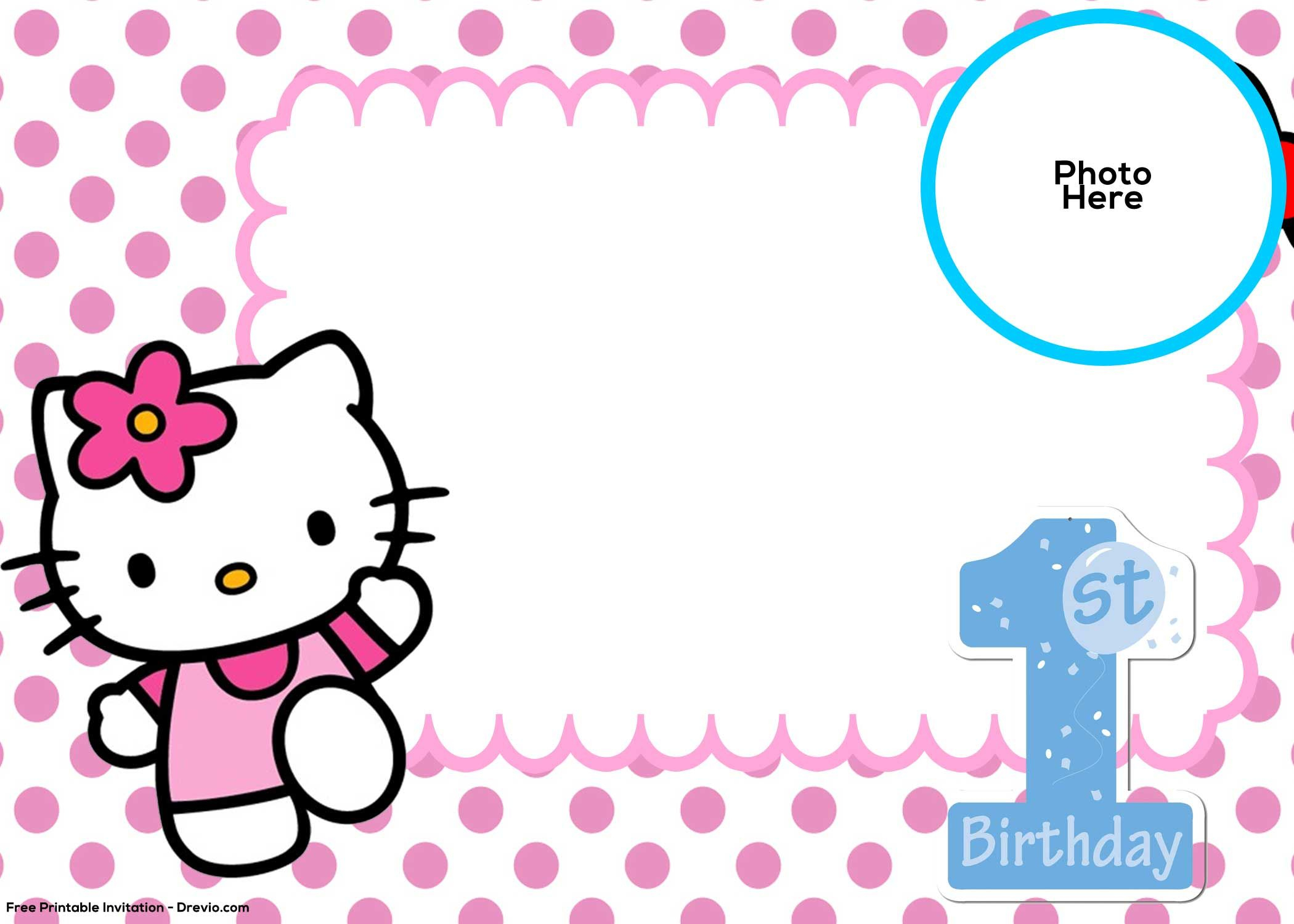 Free Hello Kitty 1St Birthday Invitation Template | Birthday With Regard To Hello Kitty Birthday Banner Template Free