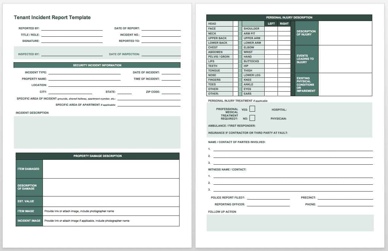 Free Incident Report Templates & Forms   Smartsheet Within It Incident Report Template