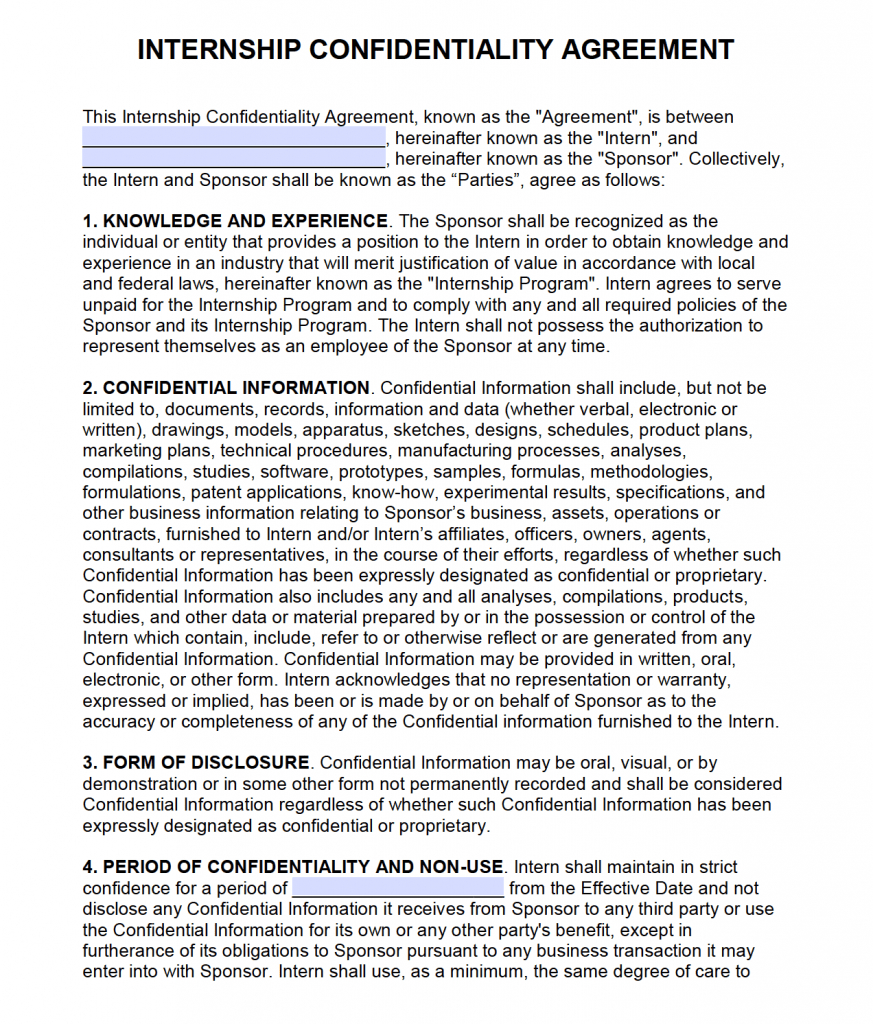 Free Intern Non Disclosure Agreement (Nda) – Pdf – Word With Nda Template Word Document