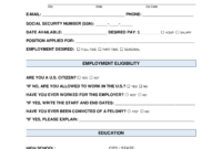 Free Job Application Form – Standard Template – Pdf | Word with Job Application Template Word