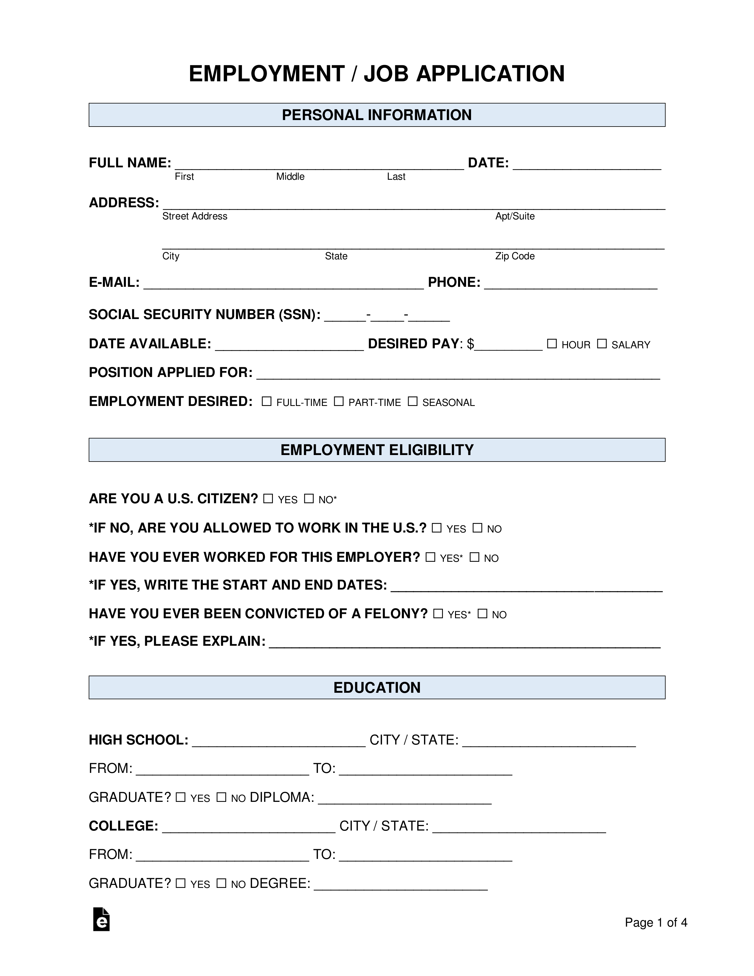 Free Job Application Form - Standard Template - Pdf | Word With Job Application Template Word
