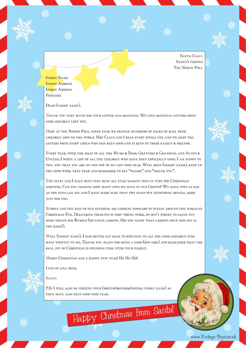 """Free """"Letter From Santa"""" Template For You To Download And Throughout Letter From Santa Template Word"""