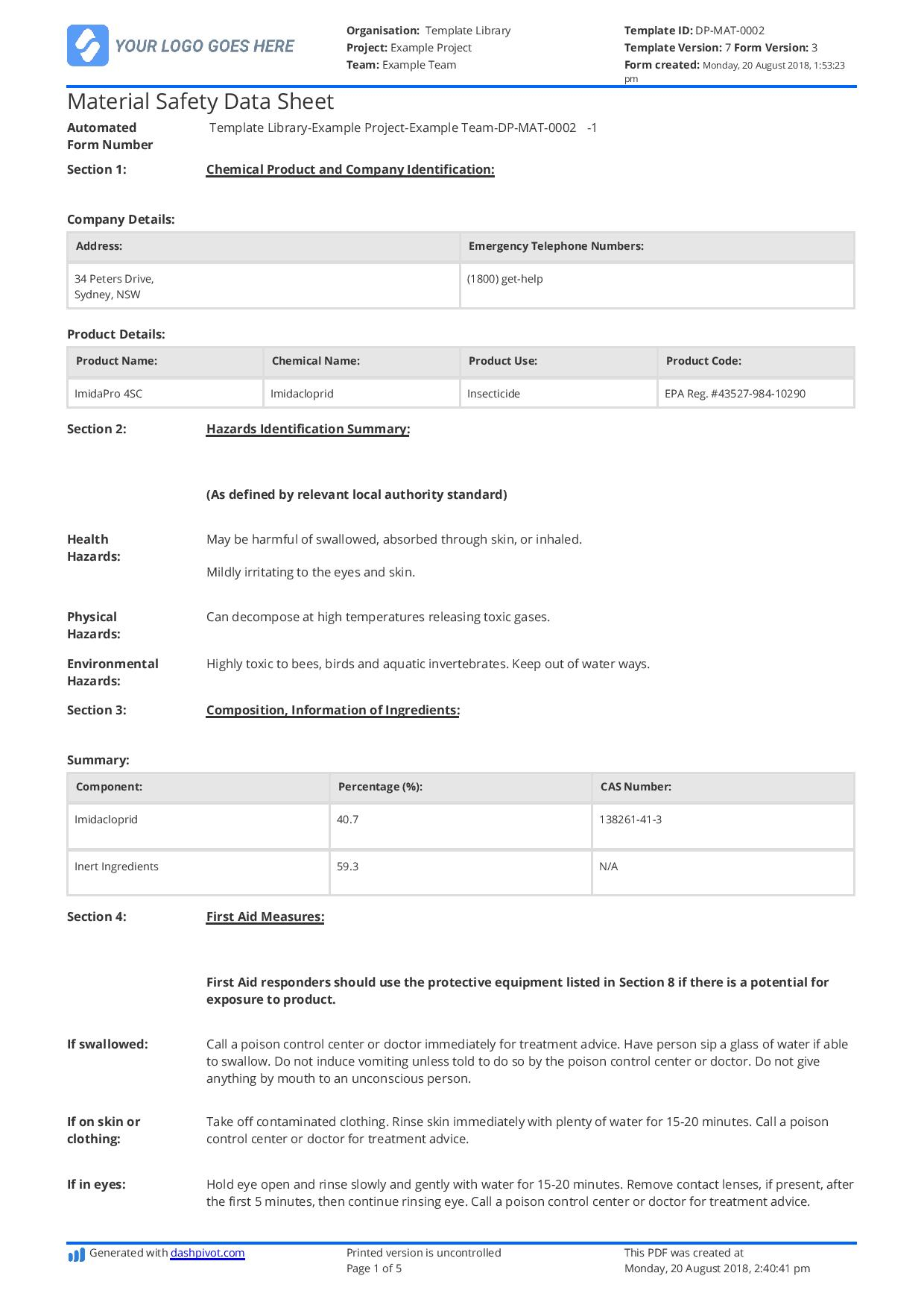Free Material Safety Data Sheet Template (Better Than Word For Datasheet Template Word