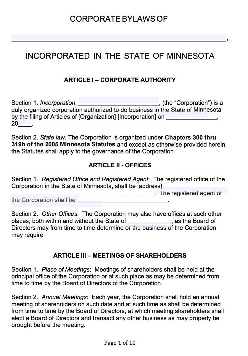 Free Minnesota Corporate Bylaws Template | Pdf | Word | In Corporate Bylaws Template Word