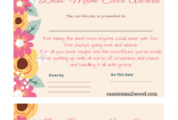 Free Mother's Day Printable Certificate Awards For Mom And within Love Certificate Templates