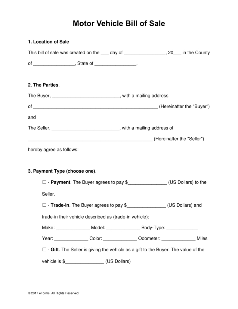 Free Motor Vehicle (Dmv) Bill Of Sale Form - Word | Pdf Pertaining To Car Bill Of Sale Word Template