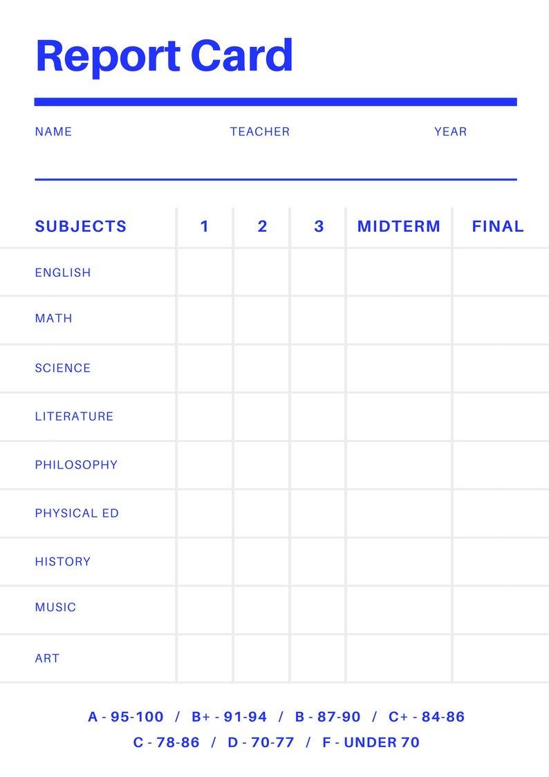 Free Online Report Card Maker: Design A Custom Report Card Inside Result Card Template