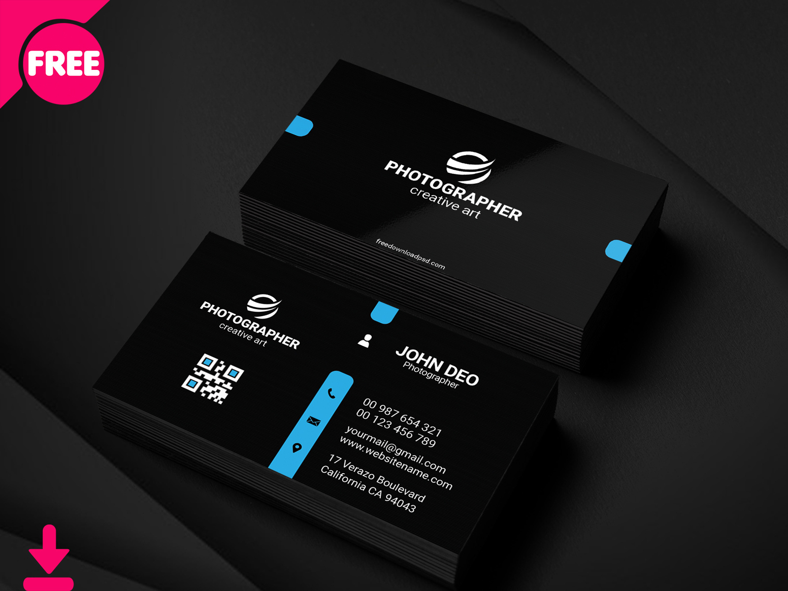 Free Personal Business Card Psd Template Cover   Searchmuzli Regarding Free Personal Business Card Templates