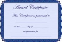 Free Printable Award Certificate Borders |  Award for Blank Award Certificate Templates Word