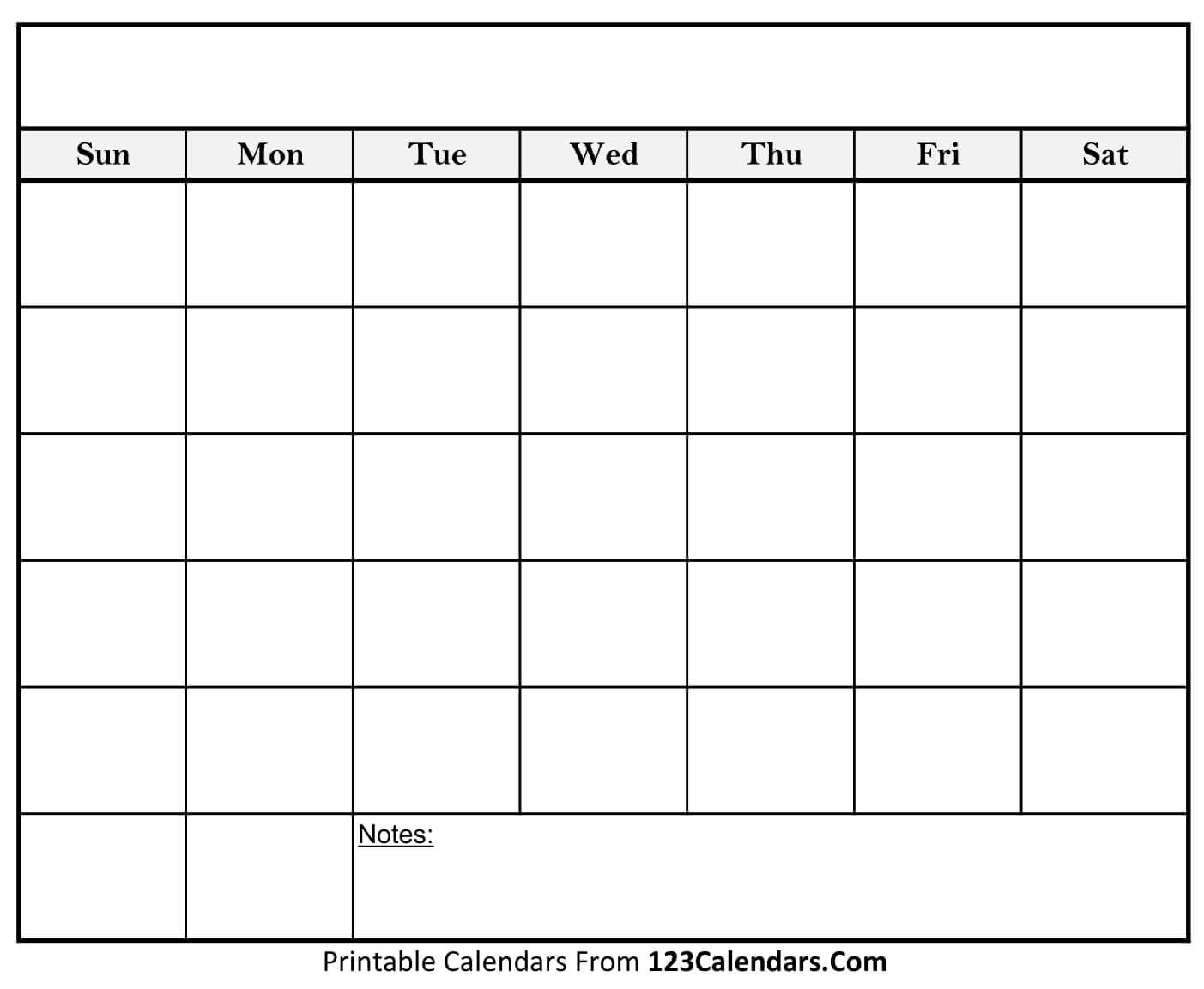 Free Printable Blank Calendar | 123Calendars For Full Page Blank Calendar Template