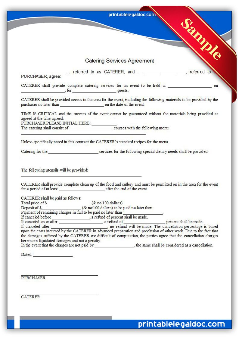 Free Printable Catering Services Agreement   Sample For Catering Contract Template Word