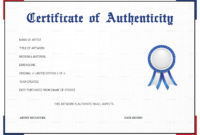 Free Printable Certificate Of Authenticity Templates | Mult with Art Certificate Template Free
