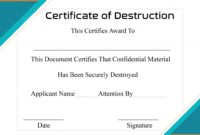 Free Printable Certificate Of Destruction Sample regarding Free Certificate Of Destruction Template