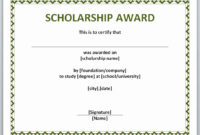 Free Printable Certificate Templates Best Of Award for Scholarship Certificate Template Word