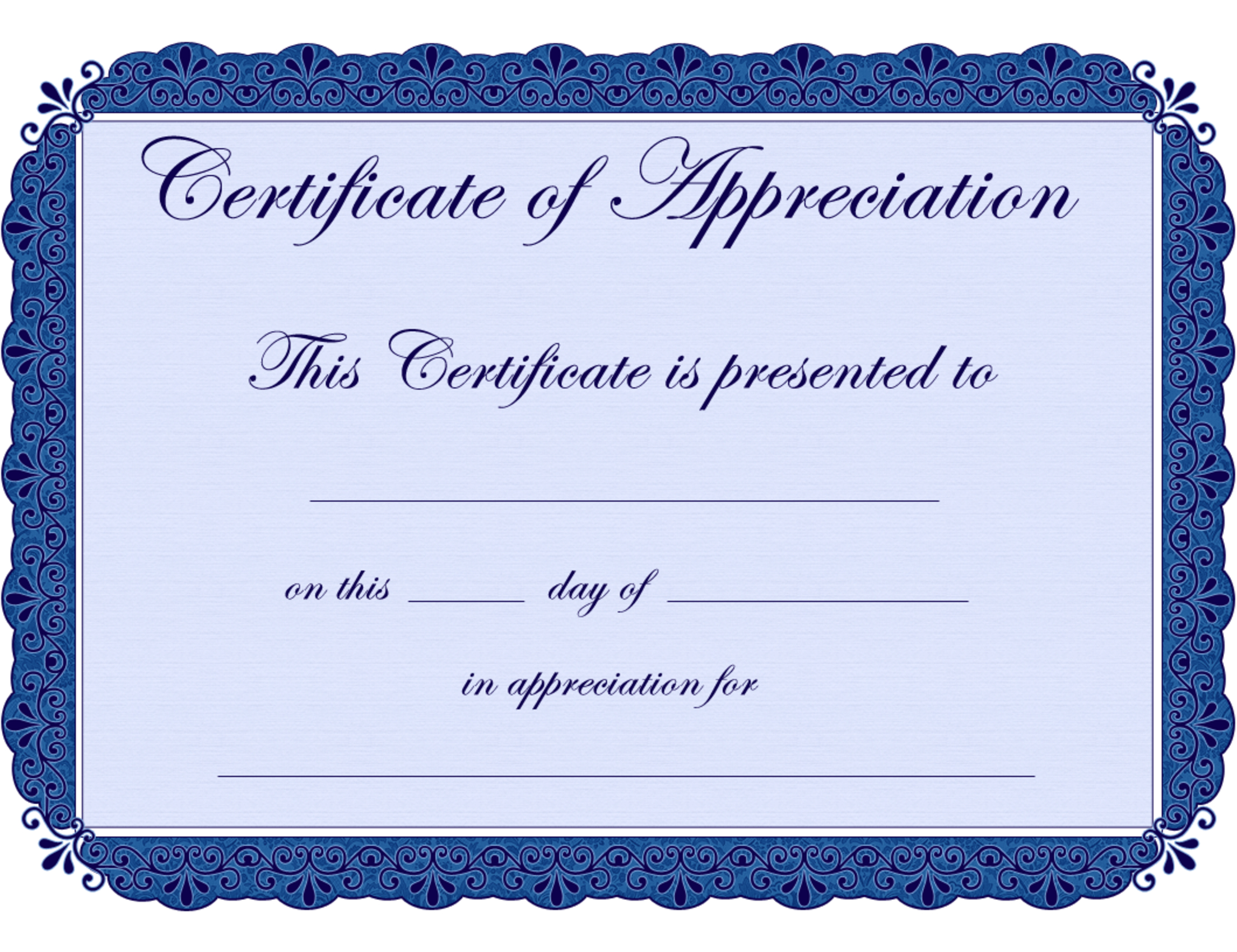 Free Printable Certificates Certificate Of Appreciation With Printable Certificate Of Recognition Templates Free
