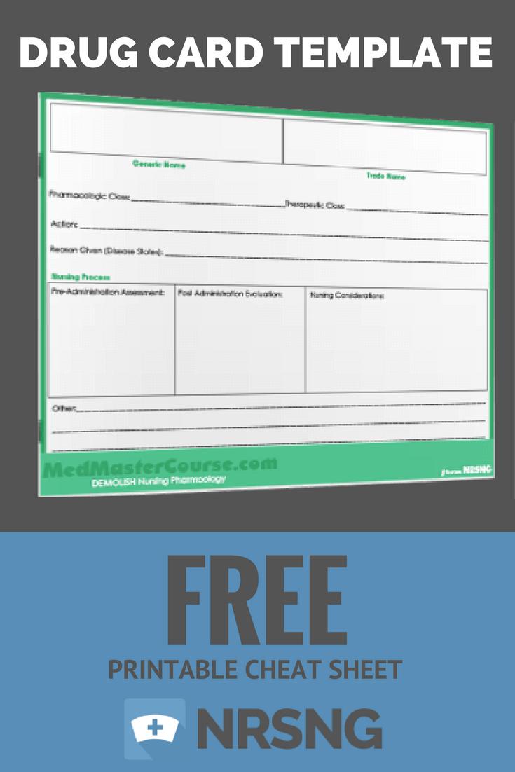 Free Printable Cheat Sheet   Drug Card Template   Nursing Regarding Med Cards Template